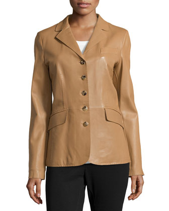 Five-Button Leather Peplum Jacket, Camel