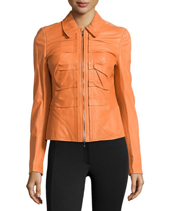 Short Leather Zip Jacket, Amber