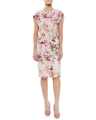 Yoomi Ruffle-Sleeve Floral-Print Cocktail Dress