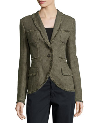 Two-Button Tweed Jacket W/ Fringe