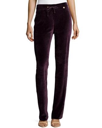 Velvet Drawstring Pants, Purple