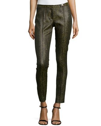 Snake-Print Skinny Trousers, Light Green