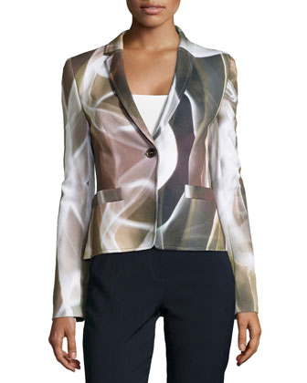 One-Button Printed Short Jacket