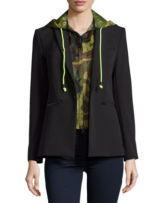Scuba Jacket with Camo Dickey & Stretch Denim Leggings