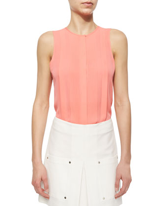 Sleeveless Silk Pintuck Blouse & Patch-Pocket A-Line Skirt