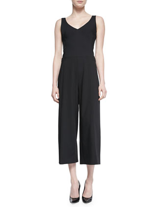 Cropped Wide-Leg Jumpsuit, Black