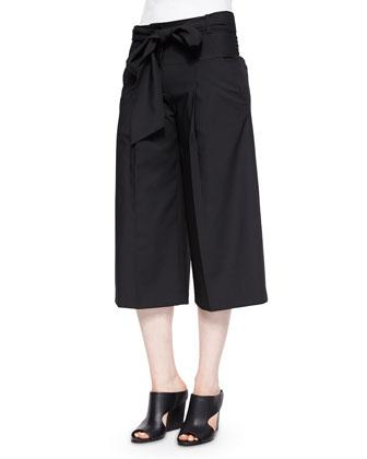 Wide-Leg Tie-Waist Trousers