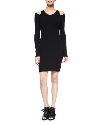 Ashlyn Shoulder-Cutout Fitted Dress