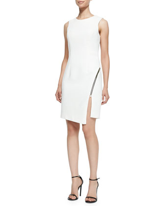 Sleeveless Sheath Dress W/ Zipper Detail
