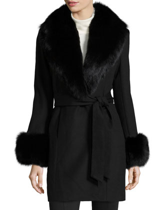 Fur-Trim Cashmere Wrap Coat