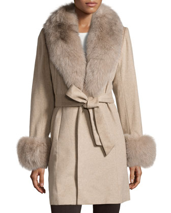 Fur-Trim Cashmere Wrap Coat, Oatmeal