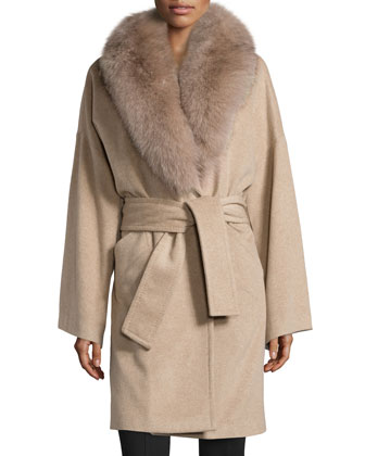 Cashmere Removable-Fur-Collar Coat