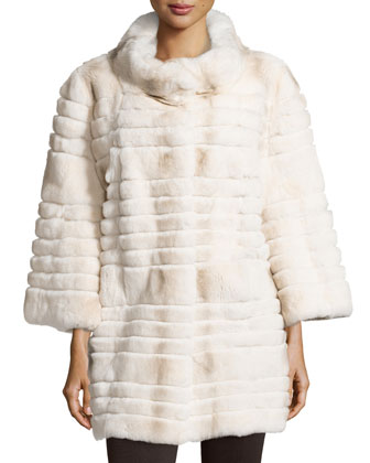 3/4-Sleeve Ribbed Fur Coat