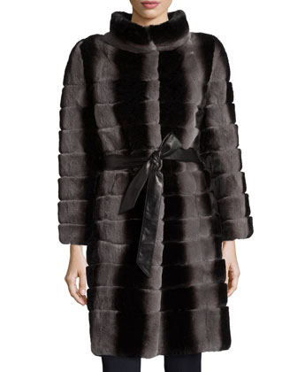 Layered & Belted Rabbit Fur Coat