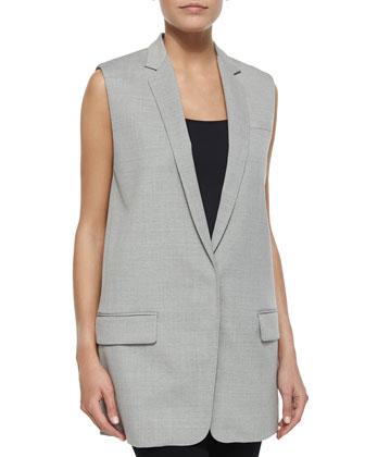 Francois Wool-Crepe Suit Vest, Dove