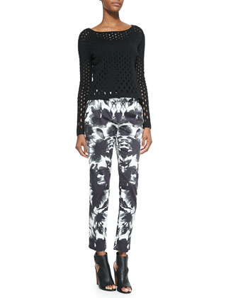 Grading Pointelle Hole Pullover & Floral Mirage Print Pants