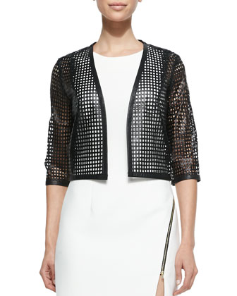 Perforated Leather Cropped Bolero & Sleeveless Sheath Dress W/ Zipper Detail