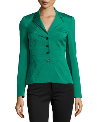 Four-Button Satin Jacket, Smaragd