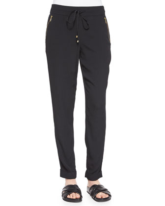 Super Mario Zip-Pocket Crepe Pants, Black