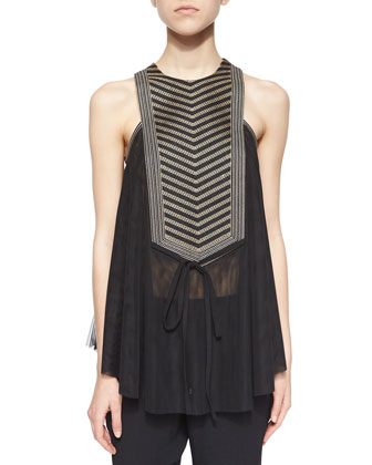 Life Forced Embellished Trapeze Top