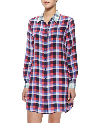Brett Long Contrast Plaid Blouse