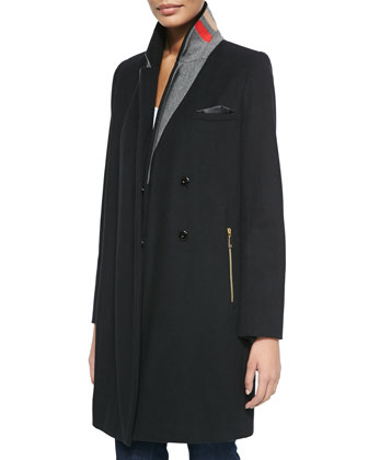 Alix Contrast-Collar Snap-Front Coat