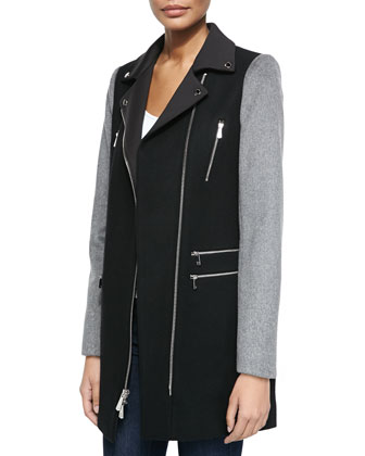 Notched-Collar Moto Coat