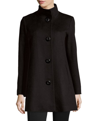 Stand-Collar Cashmere Coat, Charcoal