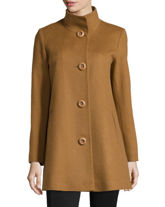 Stand-Collar Cashmere Coat