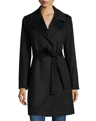 Cashmere Notched-Collar Wrap Coat, Black