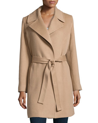 Cashmere Notched-Collar Wrap Coat, Camel