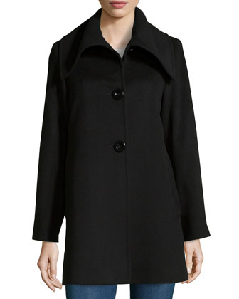 Spread-Collar Wool/Cashmere Coat