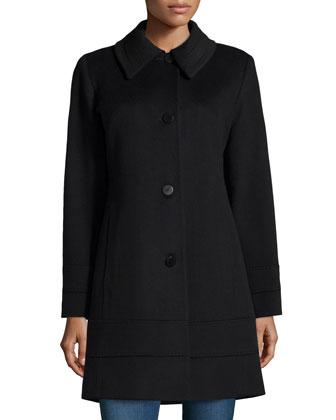 Wool Banded-Hem Coat