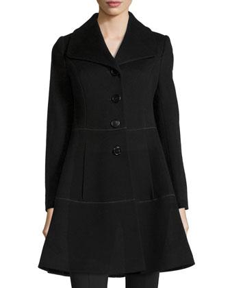 Notch-Collar Wool Swing Coat