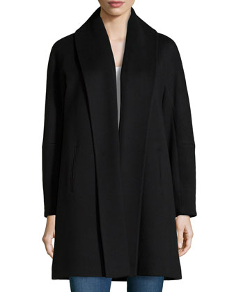 Wool Fold-Collar Open Coat