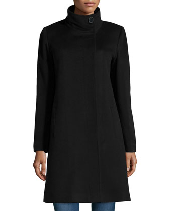 Funnel-Neck Wool/Cashmere Coat, Black