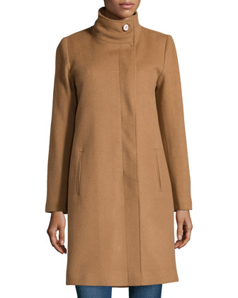Funnel-Neck Wool/Cashmere Coat, Vicuna