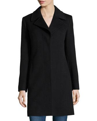 Hidden-Button Wool-Blend Coat, Black