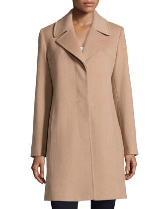 Hidden-Button Wool-Blend Coat, Camel