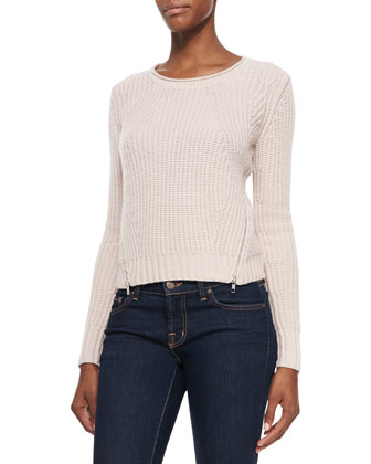 Cashmere Shaker-Knit Zip-Hem Sweater
