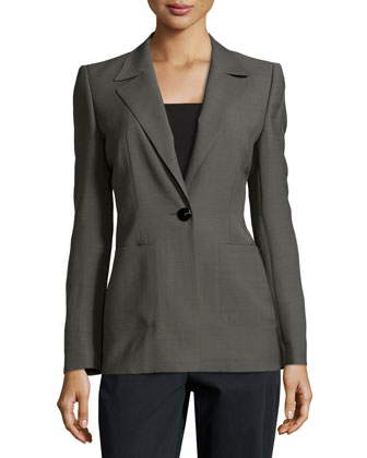 One-Button Patch Pocket Jacket, Granite