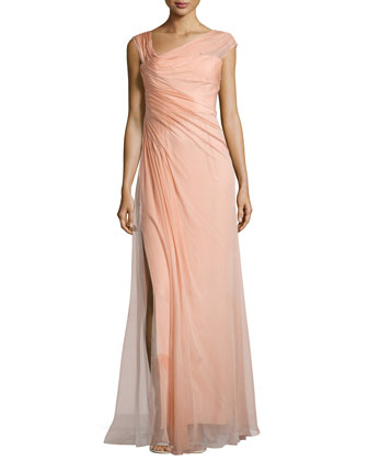 Chiffon Asymmetric Draped Gown