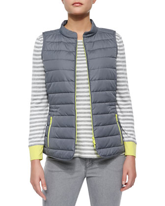 Quilted Zip-Front Vest, Long-Sleeve Colorblock Sweater & Curvy Slim-Leg Jeans