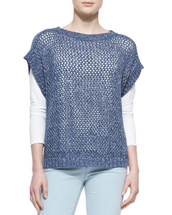 Short-Sleeve Net-Stitch Sweater