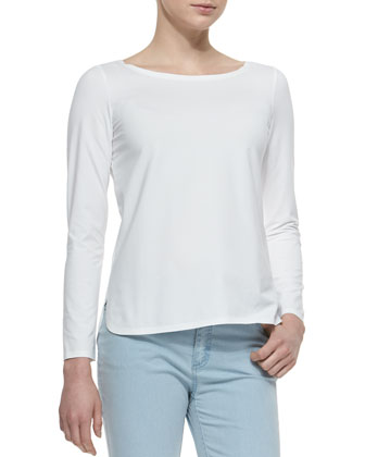 Long-Sleeve Curved Hem Tee, White