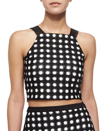 Tarek Circle-Cutout Crop Top