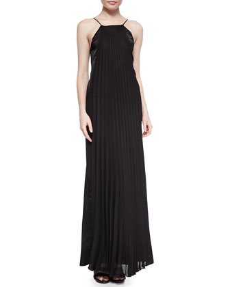 Maxwell Pleated Satin Maxi Dress