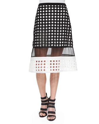 Milan Circle-Cutout Sheer Skirt