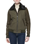 Juliana Leather-Sleeve Jacket W/ Fur Collar