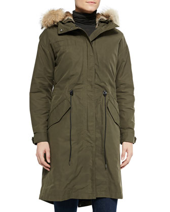 Jordyn Hooded Fur-Lined Utility Coat